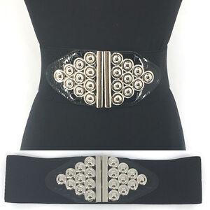 WOMEN Western Fashion Silver Metal Hook WAIST HIP WIDE ELASTIC BELT Stretch Long