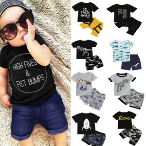 af572d9276e5 2Pcs Toddler Kid Baby Boy Shirt Print Tops T shirt+Shorts Outfits ...