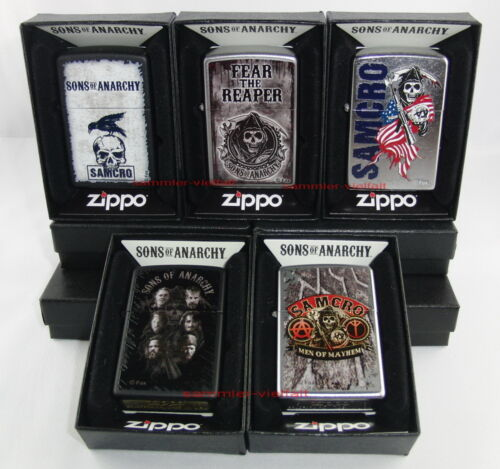 ZIPPO - 5 x SOA SONS OF ANARCHY- REAL SONS, SAMCRO, FEAR THE REAPER, RAVEN...NEU
