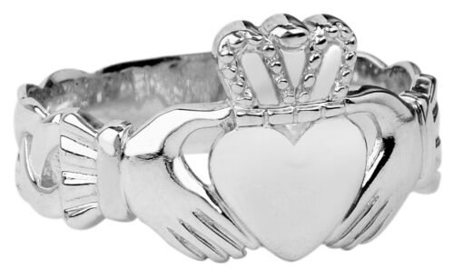 Genuine 925 Sterling Silver Celtic Trinity Knot Band Men/'s Claddagh Ring