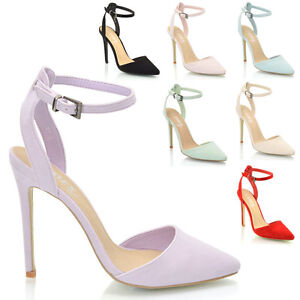 LADIES-ANKLE-STRAP-POINTED-HEELS-WOMENS-PARTY-PROM-BRIDAL-STILETTO-COURT-SHOES