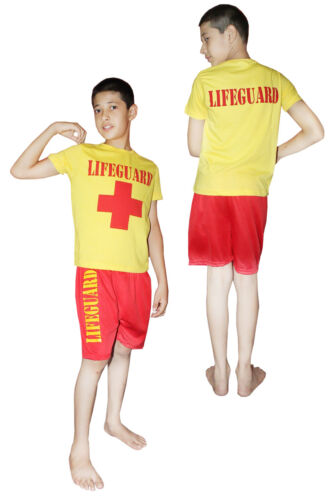 Boy/'s Red Yellow Life Guard Children Costume Rescue Team Kids School Fancy Dress