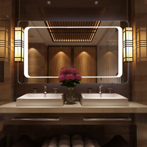 Details About Modern Electric Touch Switch Bathroom Mirror With Demister Pad Sensor Led Light