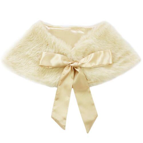 Girls Faux Fur Bolero Shrug Wrap Coat Shawl Princess Wedding Party Cape Jacket