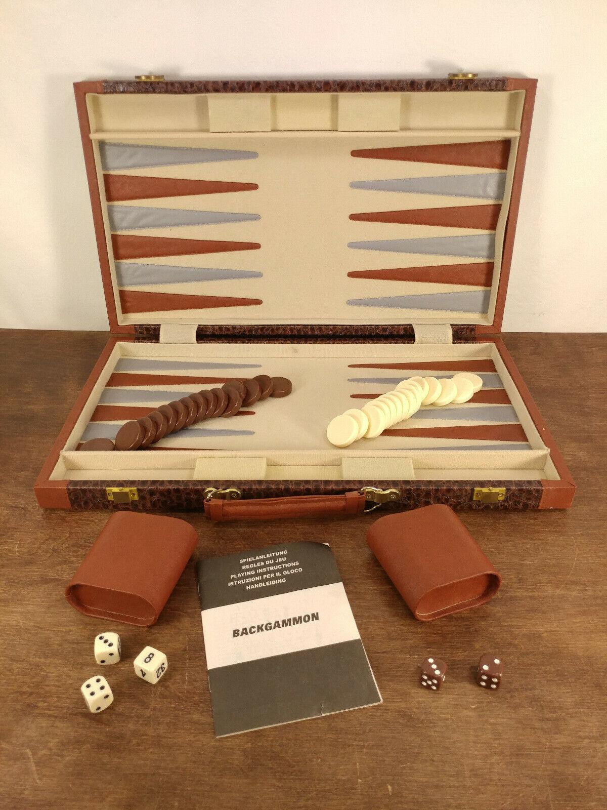 Vintage Backgammon estuche de juego Excelente Estado Acolchado Chocolate fichas Coloradas