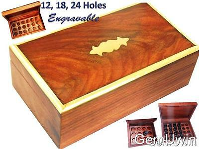 Rosewood Aromatherapy Essential Oil Storage Box 12 18 24 Holes Brass Engravable