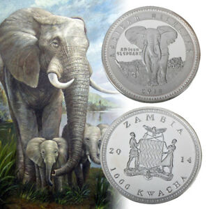WR-2014-African-Wildlife-Animal-Elephant-Silver-Coin-Best-Gift-For-child
