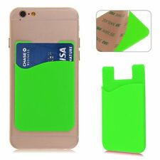 Silicone Wallet Credit Card Cash Sticker Holder For Android iPhone Lot - Green!