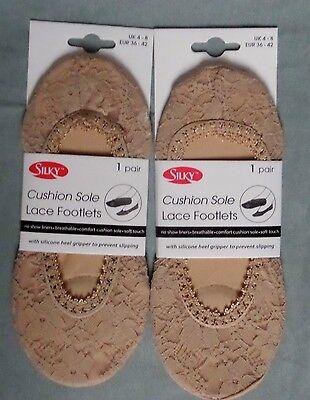 Suela Cojín Sedoso Encaje footlets, Footsie, forro de 1 o 2 pares de zapatos