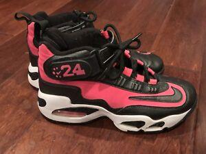 87dfbd58c87311 Nike 437353-601 Ken Griffey Jr Air Max 1 Girls Black Pink Leather ...