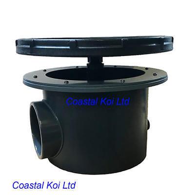 Arerated bottom drain 4 koi pond liner concrete sump for Koi pond rock bottom