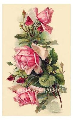Victorian Pink Roses & Buds Crazy Quilt Block Multi Szs FrEE ShiP WoRld WiDE (V7