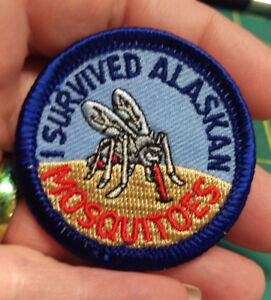 NEW-Fun-Alaska-Merit-Badge-Patch-I-SURVIVED-ALASKAN-MOSQUITOES-embroidered