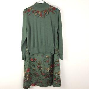 Pendleton-2-Pc-Sweater-Skirt-Set-Wool-Mock-Turtleneck-Embroidered-Green-L-12