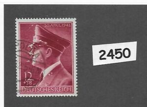 2450-Used-stamp-Adolph-Hitler-1942-Birthday-WWII-Germany-Third-Reich