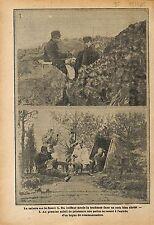 Coiffeur Tondeuse Poilu Barbier Soldats Bataille de Verdun WWI 1915 ILLUSTRATION