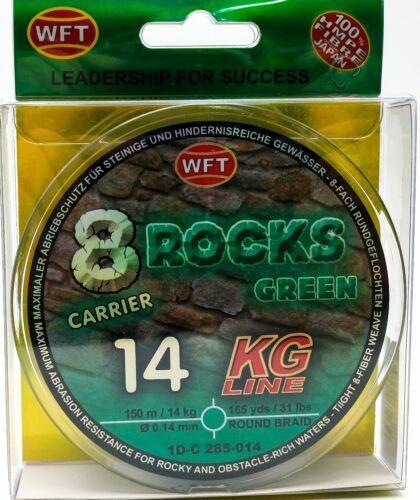 WFT 8 Rocks Green 14KG X8 Braid Line 150mt 0.14mm-Clearance Sale