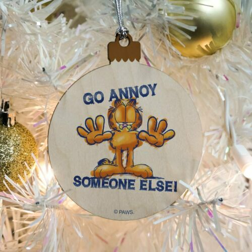 Garfield Go Annoy Someone Else Wood Christmas Tree Holiday Ornament