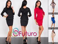 Women's Peplum Dress Crew Neck Tunic 3/4 Sleeve Mini Dress Sizes 8-18 FK1199
