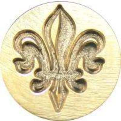 "Fleur de Lys Wax Seal Stamp 3//4/"" dia slightly irregular metal seal /& handle"
