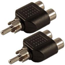 RCA Phono Plug to Twin Dual Double 2 Sockets Splitter Combiner Adaptor x 2