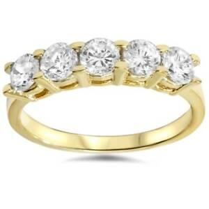 1-1-4ct-Diamond-Wedding-14k-Yellow-Gold-Anniversary-Ring-5-Stone-High-Polished