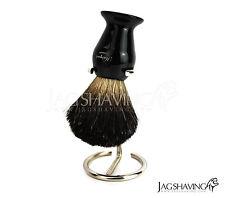 Men's Natural Black Badger Hair Shaving Brush & Wire Brush Stand /Holder Kit