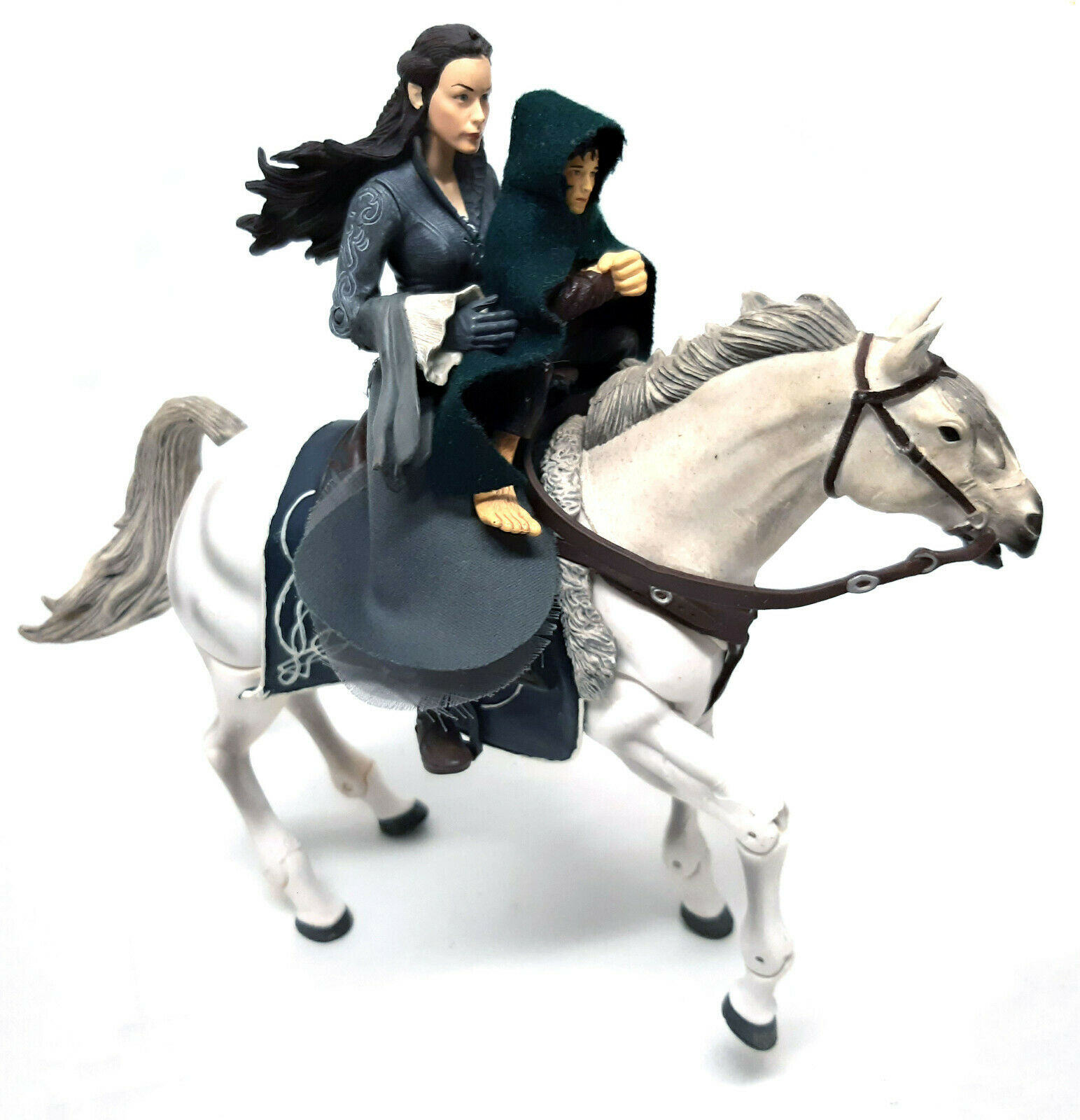 Tolkien Lord of the Rings 6  ARWEN ON ASFALOTH HORSE + frodo toy action figures