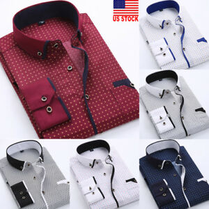 US-Luxury-New-Fashion-Mens-Slim-Fit-Shirt-Long-Sleeve-Dress-Shirts-Casual-Shirts