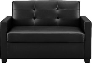 Sofa Bed Sleeper Couch Twin Loveseat Black Luxury Leather