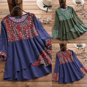 Vintage-Femme-100-coton-Mache-Longue-Imprime-floral-Patchwork-Haut-Shirt-Plus