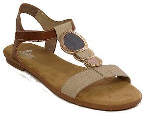 Details zu RIEKER Schuhe Sandalen Riemchen Sandaletten Flats braun beige NEU