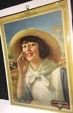 McCormick Deering Farm Farmer Calendar Top Sign C 1930 Pretty Girl Lady Old