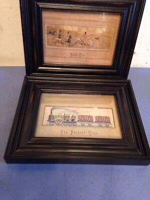 Two Antique Framed Stevengraphs Woven In Silk Full Cry & Present Time