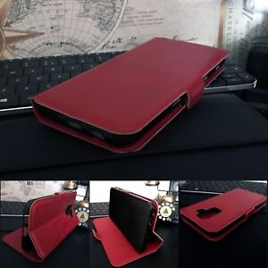 OULUX-Genuine-Leather-Wallet-Red-Case-Sony-Xperia-1