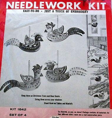Vtg 60s BUCILLA FELT Christmas ornament JEWELED KIT embroidery 4 Exotic Birds