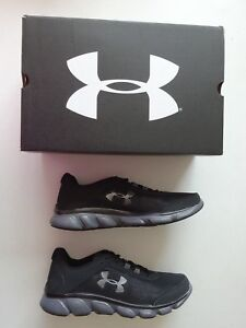 Under Armour Men s Micro G Assert 7 Black Rhino Gray Running Shoe ... 3db92cd6640e