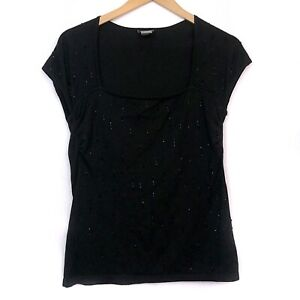 ANN-TAYLOR-Black-Beaded-Bead-Square-Neck-Short-Sleeve-SILK-Knit-Blouse-Top-Small