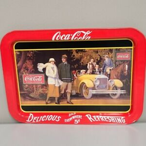 Coca-Cola-metal-Logo-Painted-Graphic-Serving-Tray-Ractangular-12x18-Bar-Drink