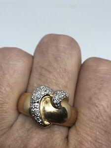 Vintage-Golden-Diamant-Coeur-Anneau-Argent-Sterling-925-Taille-9