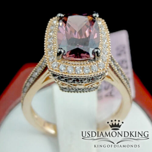 LADIES PINK ROSE GOLD ON STERLING SILVER SOLITAIRE STONE ENGAGEMENT RING BAND