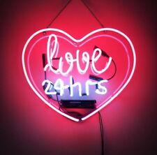 """17""""x14"""" Real Glass Neon Light Sign Vintage LOVE 24 hours Heart Lighting Art UK"""