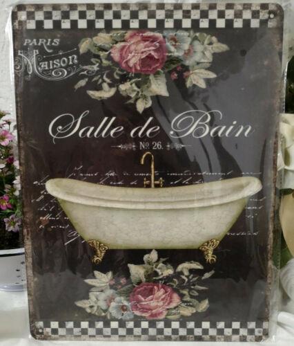 Plate Image Bathroom Decor Metal Sign Salle De Bain 33x25cm Shabby Vintage