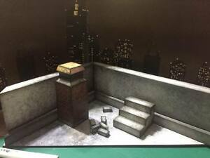 """FIG-RT-1/12: Paper-craft Diorama - 1/12 scale Roof Top for 6"""" Daredevil Punisher"""