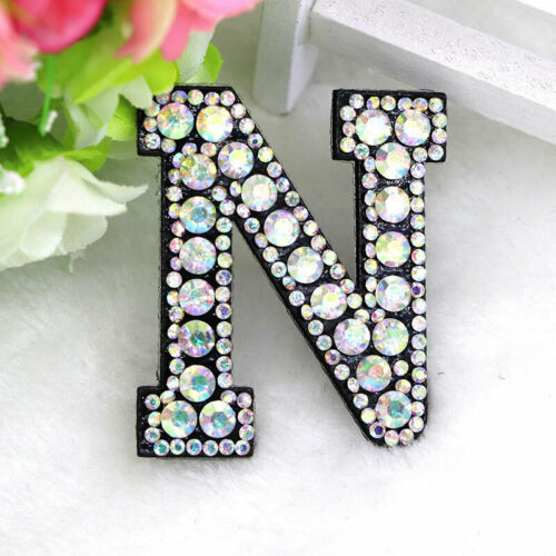 English A-Z Iron Sew On Rhinestone 26 Letters Patch 3D Badge Applique Clothes