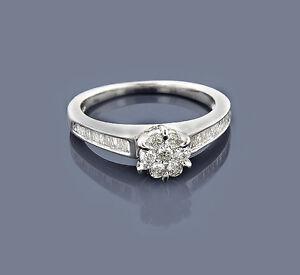 Ring-Diamanten-14-Karat-585-Weissgold-Wesselton-0-72-Karat-Brillantring-Neu