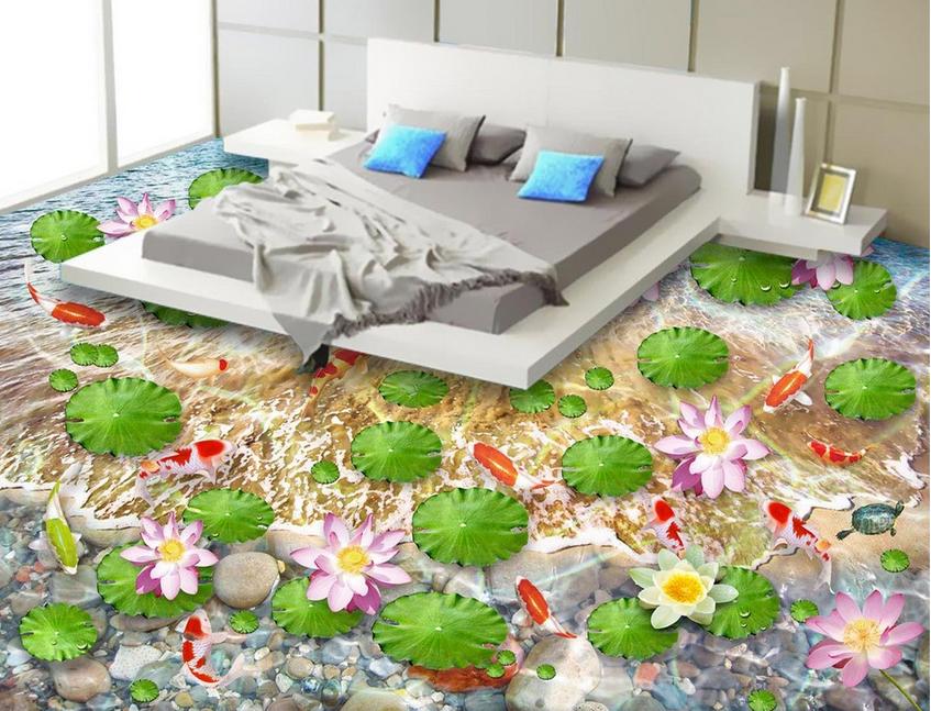 3D Lotus Fishs 485 Floor WallPaper Murals Wall Print 5D AJ WALLPAPER UK Lemon