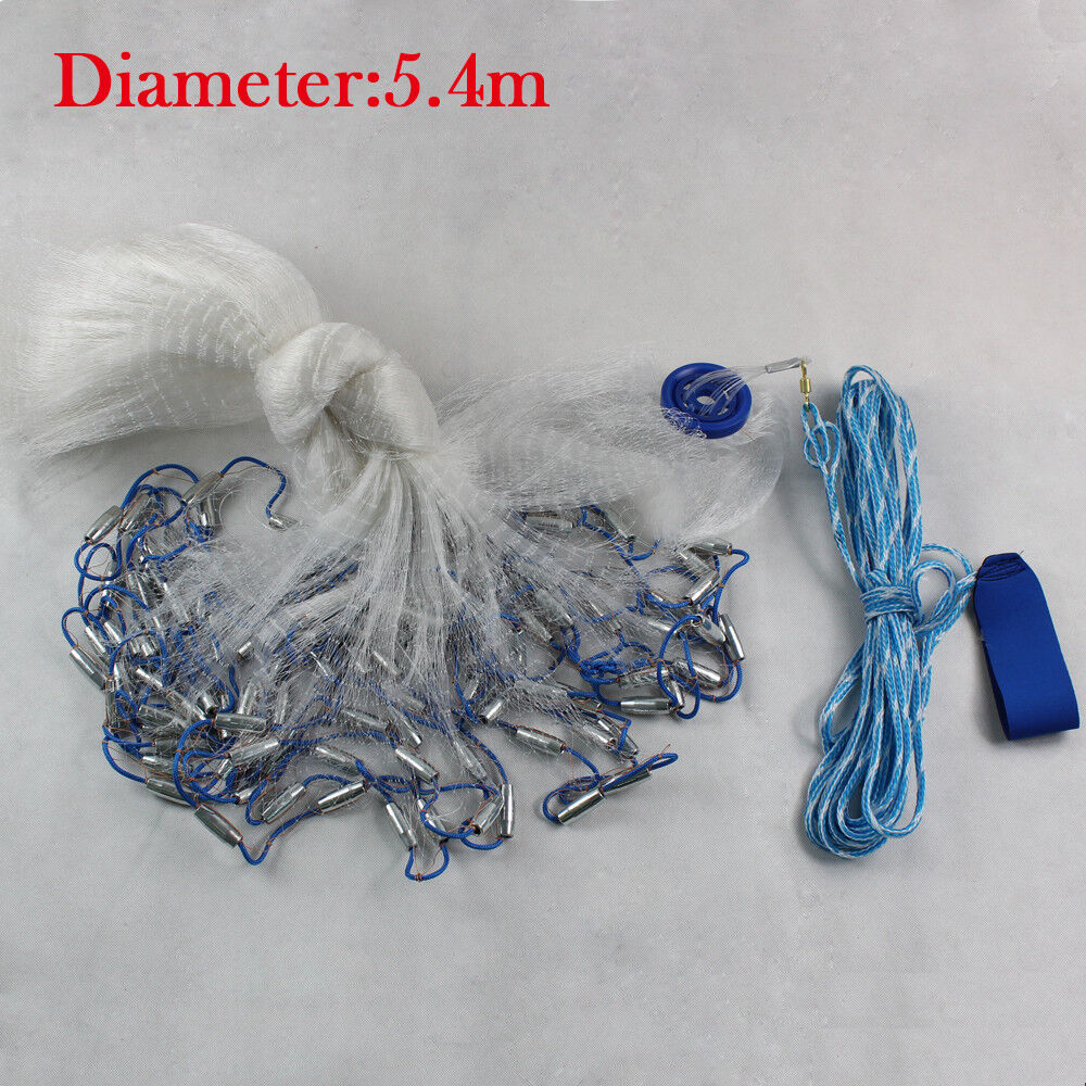 Large  Hand Cast Fishing Net Fish Gill Spin Network Bait+Sinker Durable 18Ft UPS  lowest whole network