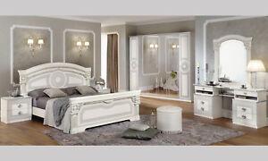Italienisches Schlafzimmer Komplett Set Weiß-Silber Hochglanz ...