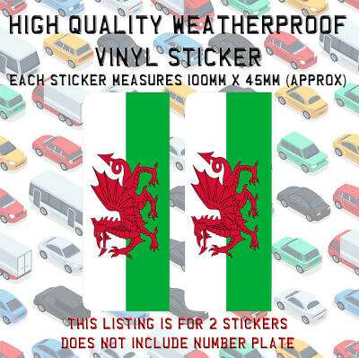 2 x Number Plate Stickers Wales Flag 2 x Heart Wales Flags I Love Wales